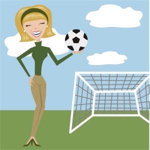 "A ""soccer mom"" caricature"