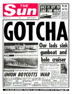 The Sun's headline used during the Falkand War