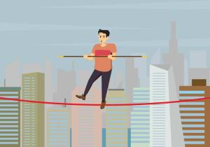 tightrope-walker-over-city-buildings-illustration-vector